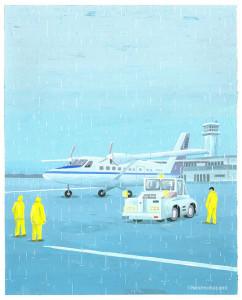 雨の日の飛行場
