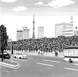 集英社小説すばる2016.1月号 『逆にタワー』小野寺史宣著 扉絵(2015)